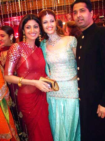 Couple with Shilpa Shetty