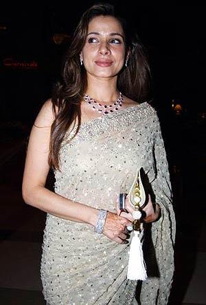 Neelam Kothari in a classic silver saree