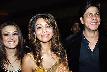 Preity Zinta with Gauri and Shah Rukh